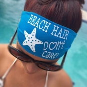 LovelyEuramerican Letters Printed Blue Headband