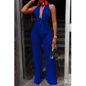 Lovely Sexy Deep V Neck Blue One-piece Jumpsuits