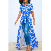Lovely Euramerican Printed Blue Lace-up Shirts