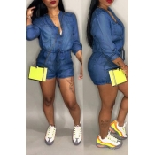 Lovely Casual V Neck Drawstring Deep Blue Denim One-piece Romper