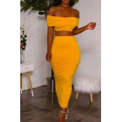 Lovely Euramerican Dew Shoulder Yellow Two-piece S