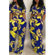 LovelyEuramerican Floral Printed Royal Blue  Two-piece Pants Set