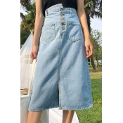 Lovely Casual Slit Baby Blue Denim Mid Calf Skirts