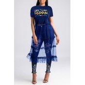 Lovely Street Round Neck Letter Patchwork Blue T-shirt