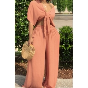 LovelyCasual  Deep V Neck  Loose Jacinth Two-piece Pants Set