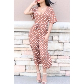 Lovely Euramerican Dots Printed Coffee One-piece J