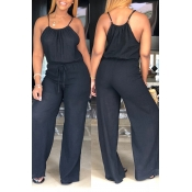 Lovely Euramerican Loose Black One-piece Jumpsuit