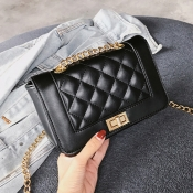 Lovely Fashion Chain Design Black Patent Leather C