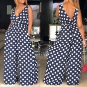 Lovely Casual Dots Printed Navy Blue One-piece Jumpsuit