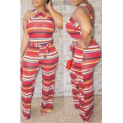 Lovely Euramerican Striped Red One-piece Jumpsuit (With Belt )