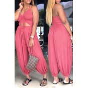 Lovely Fashion Hollow-out Pink One-piece Jumpsuits
