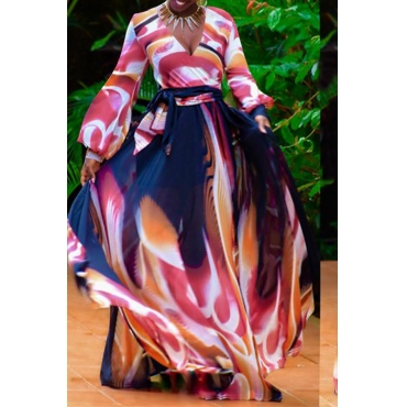 Lovely Sexy Deep V Neck Printed  Pink Floor Length Dress