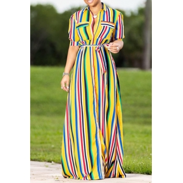 LovelyEuramerican Striped Yellow Floor Length Dress