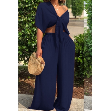 LovelyCasual  Deep V Neck  Loose Dark Blue  Two-piece Pants Set