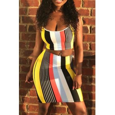 LovelyFashion U Neck Striped Two-piece Skirt Set