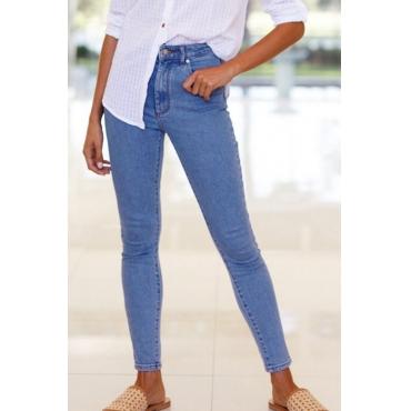 Lovely Euramerican High Waist Blue Denim Pants