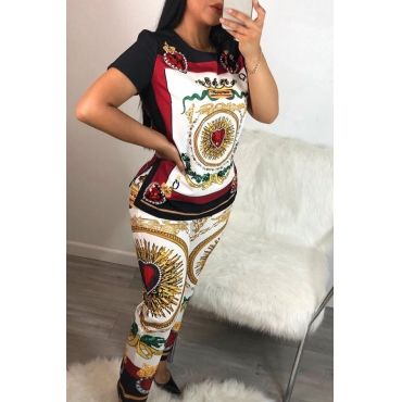 Lovely Leisure Printed Multi Two-piece Pants Set