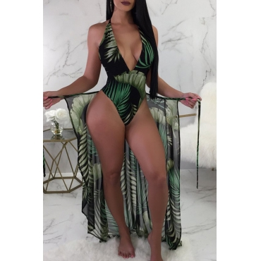 Lovely Euramerican Floral Printed Black Green  One-piece Swimwear(With  Beach Towel)
