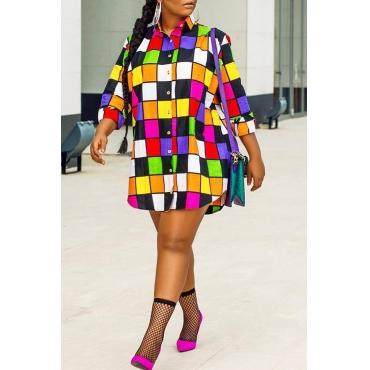 LovelyCasual Plaids Patchwork Multicolor Mini Dress