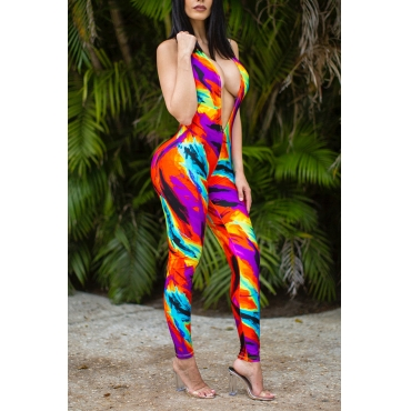 Lovely Sexy  Deep V Neck  Printed Multicolor  One-piece Jumpsuit