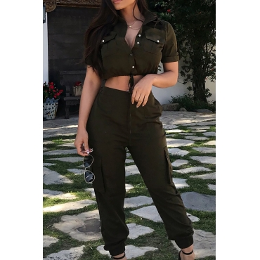 Lovely  Casual Button Decorative   Army Green Two-piece Pants Set