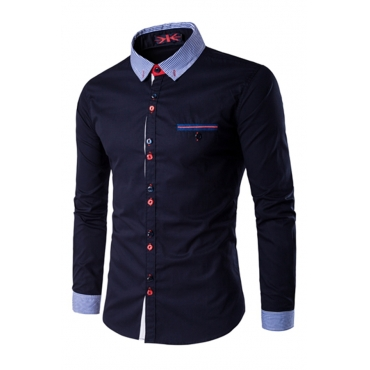 Lovely Casual Patchwork Navy Blue Shirts