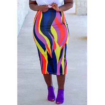 Lovely Casual  Printed Sheath Multicolor Mid Calf  Skirts