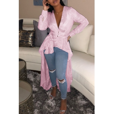 Lovely Casual Asymmetrical Striped Pink Blouses