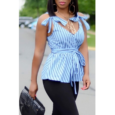 Lovely Casual Lace-up Striped Blue Camisole