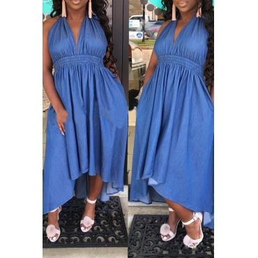 Lovely Euramerican Drape Design Loose Blue  Ankle Length  Dress