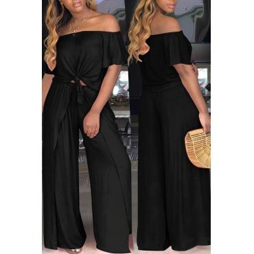 LovelyEuramerican Dew Shoulder  Side Slit   Black Two-piece Pants  Set