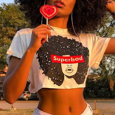 Lovely  Casual Crop Top Printed White T-shirt