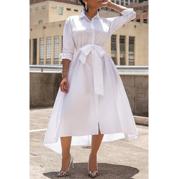 Lovely Trendy Lace-up White Ankle Length  Dress(With Belt)