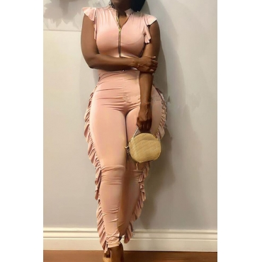 Lovely Trendy Flounce Apricot Qmilch One-piece Jumpsuit