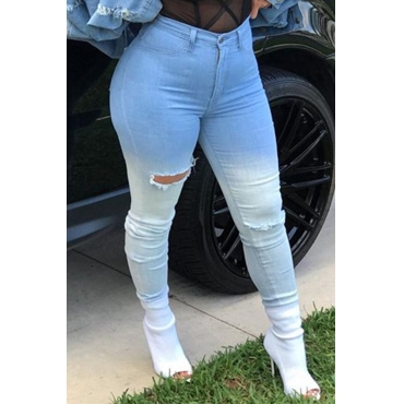 Lovely denim Solid Zipper Fly High Regular Pants Jeans