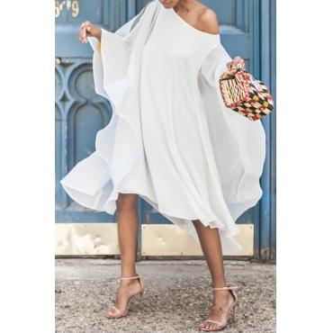 Lovely  Sweet Bat-wing Sleeves Asymmetrical  White Chiffon Mid Calf Dress