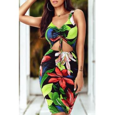 Lovely Bohemian Floral Printed Sheath Green Qmilch Knee Length Dress(Batch Print)