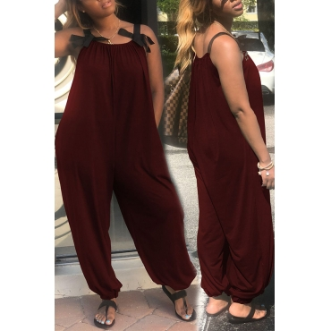 Lovely Fashion Loose Wine Red One-piece Jumpsuit