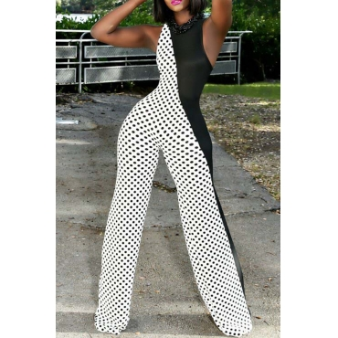 Lovely  Casual Dot Printed Patchwork White Blending One-piece Jumpsuits