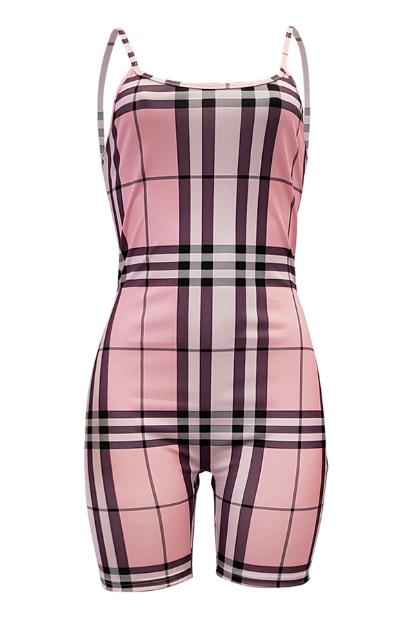 Lovely Casual Grids Printed Skinny Pink Blending One-piece Rompers