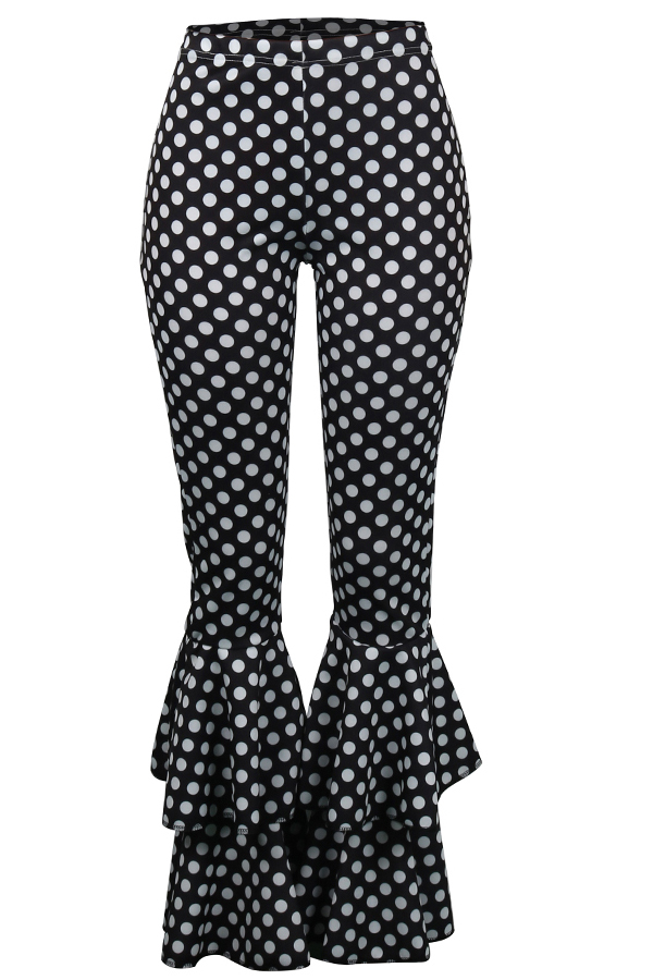 Lovely Euramerican  Dots Printed Flared Legs Black  Pants