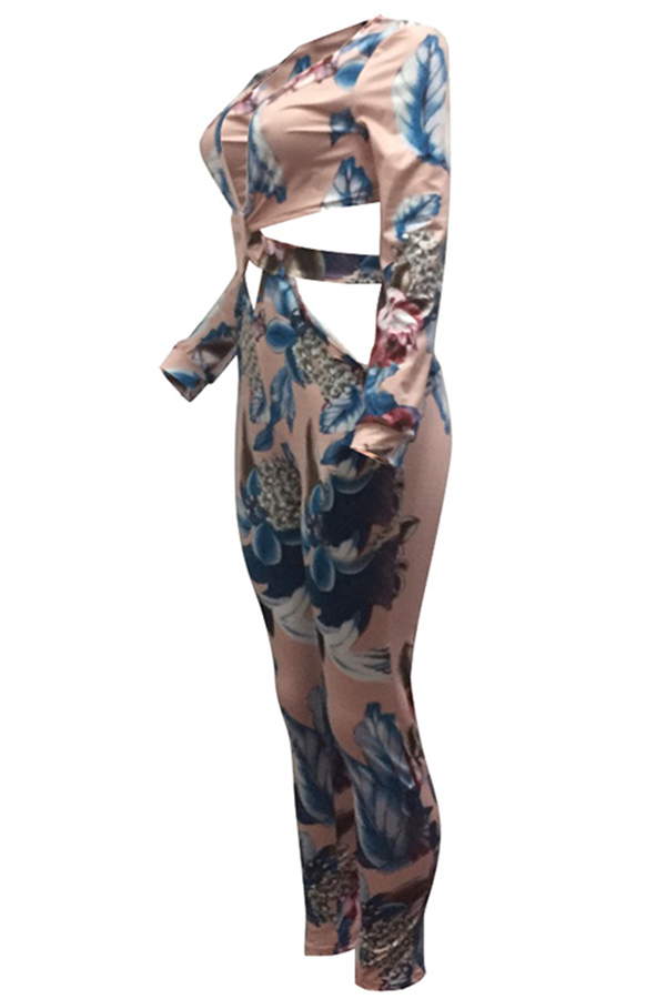Lovely Euramerican Floral Printed Hollow-out Pink One-piece Jumpsuit
