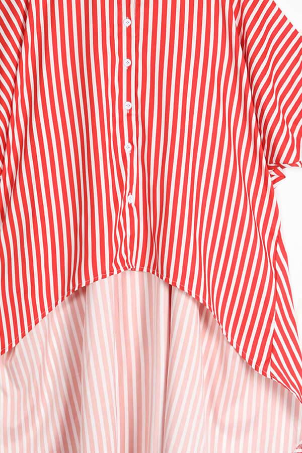 Lovely Casual Striped Asymmetrical Red Blending  Blouses