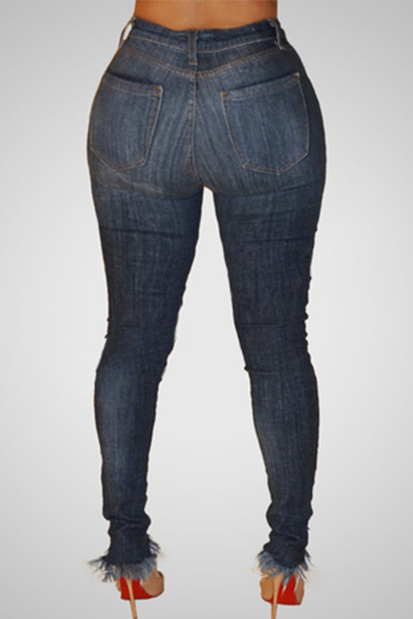 Lovely Trendy High Waist Broken Holes Dark Blue Denim Jeans