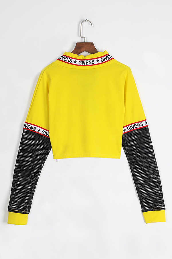 Lovely Casual Long Sleeves Net Yarn Splicing  Yellow Hoodies
