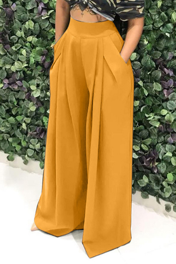 Pantalones Sueltos Amarillos Ocasionales Encantadores