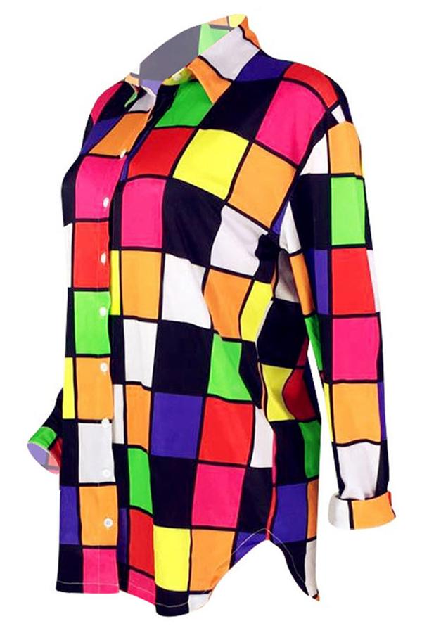 Lovely Casual Plaids Patchwork Multicolor Mini Shirt Dress