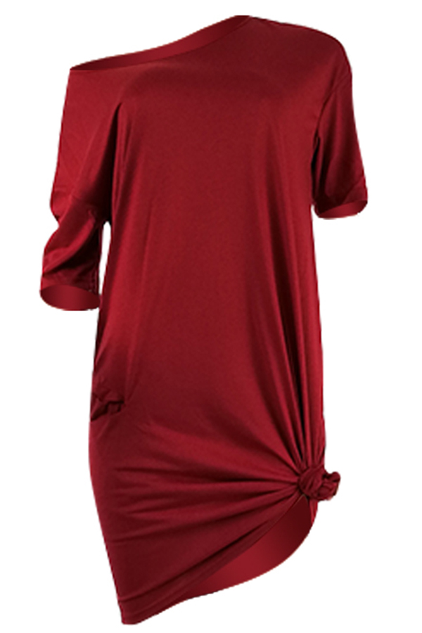 Lovely Casual Knot Design Wine Red Blending Knee Length Dress