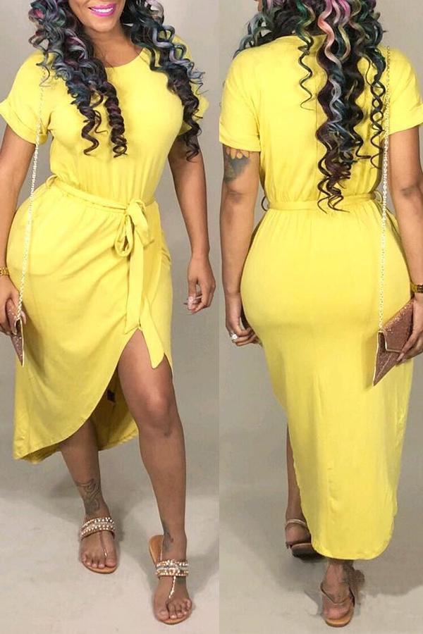 Lovely Casual  Asymmetrical Yellow Blending Ankle Length Dress