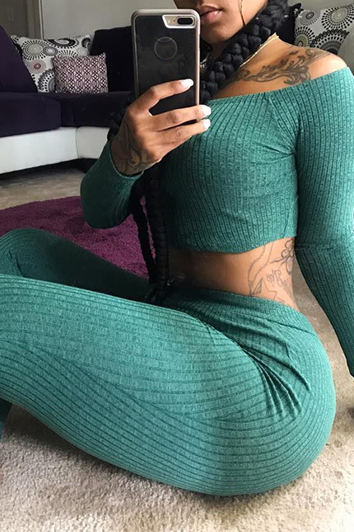 Lovely Euramerican Dew Shoulder Green Cotton Two-piece Pants Set